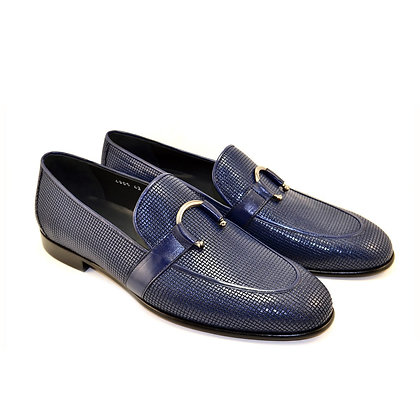 Corrente (Blue) Woven Textured leather Loafer with horseshoe buckle