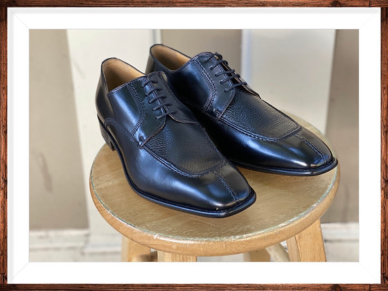 "Black Italian Calfskin Split Toe Oxford Shoe by Calzoleria Toscana ""3796"""