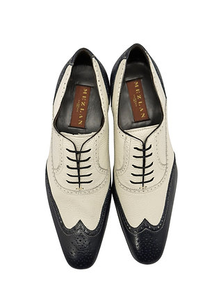 "Mezlan ""Vivaldi"" Blue and Bone Spectator Oxford shoe front view"