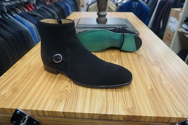 Santos Green label  suede side zip side buckle ankle boot