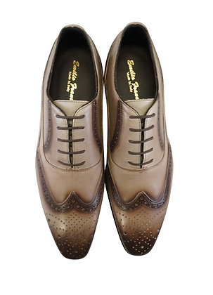 Men's Emilio Franco Brown perforated oxford Italian Wingtip Hand painted Shoe