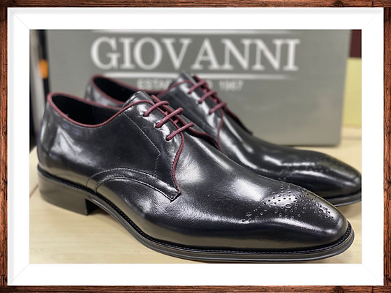 Black with Brugundy Trim Men's Oxford Shoe by Giovanni