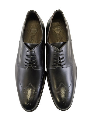 "La Ferra ""KD6"" Black Made in Italy Wingtip Shoe Front View"