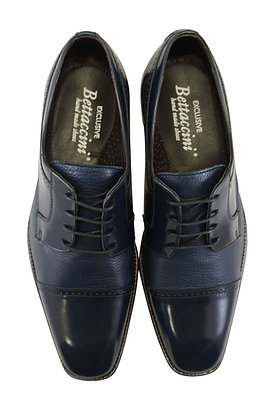 Bettaccini Navy Blue Cap Toe Italian oxford - Front view