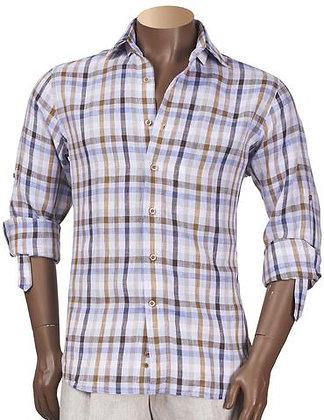 """Inserch Linen Button Down Shirt """"Lt. Blue Check"""""""