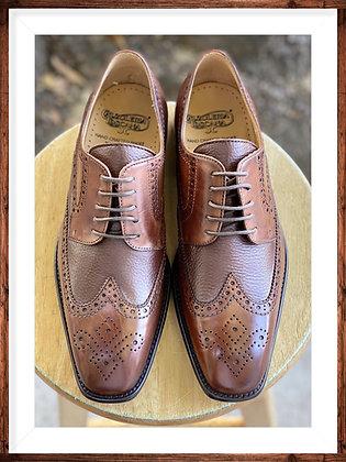 "Mahogany Mens Italian Brogue Wingtip Oxford Shoes by Calzoleria Toscana ""7181"""