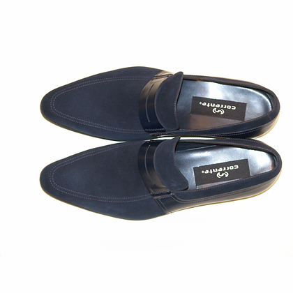 Corrente (Navy) Suede And Leather Loafer