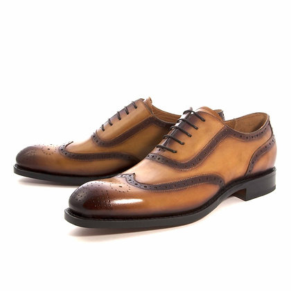 Mens Wingtip Oxford Shoe by Ugo Vasare (Honey)