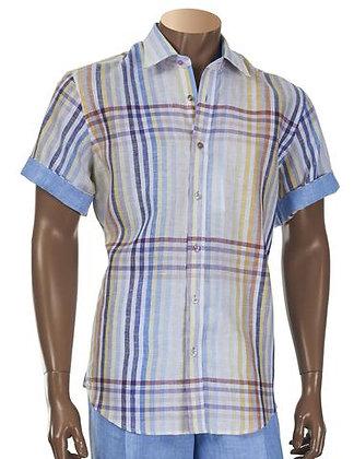 Inserch Multi color Linen Short Sleeve Shirt