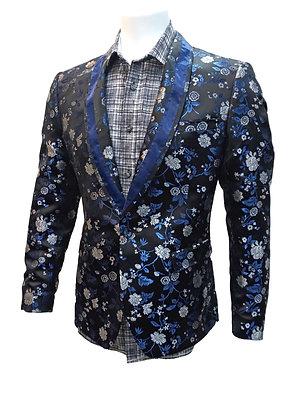 "Biarelli ""Black Flower Satin"" Mens Slim fit dinner jacket"