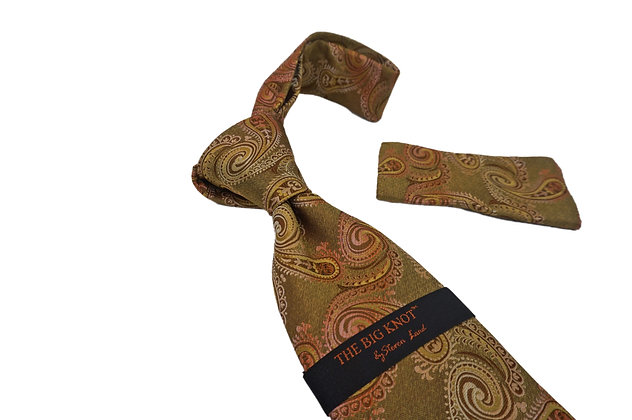 Steven Land (Gold) Paisely Silk Tie and Hanky