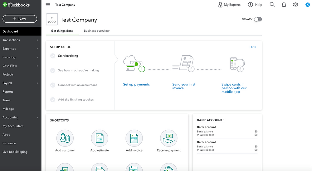 quickbooks dashboard home page