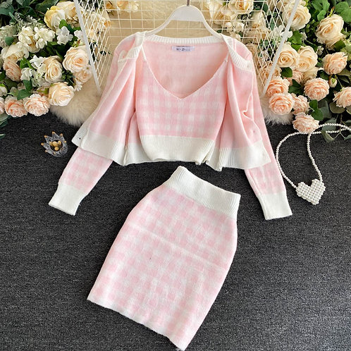 Three-Piece Checkered Cardigan Set