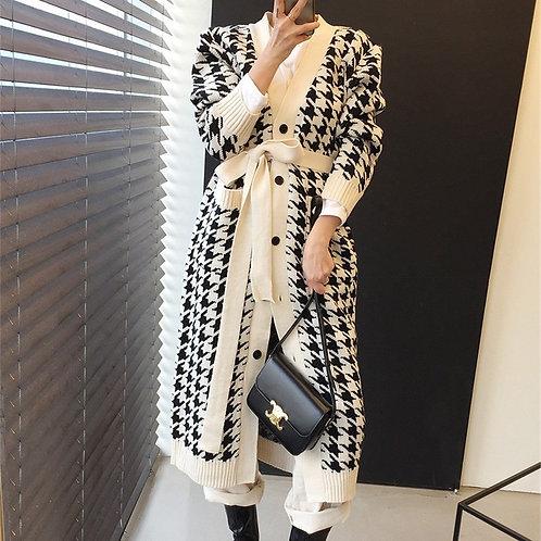 V-Neck Houndstooth Cardigan Robe