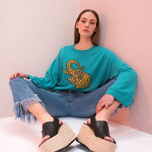Turquoise Fashion Elephant Sweater