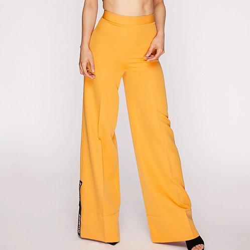 Orange crepe wide-leg pants