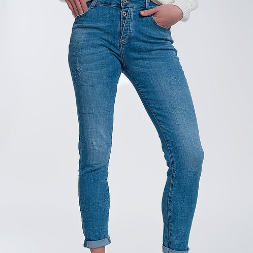 Exposed Button Regular Jeans