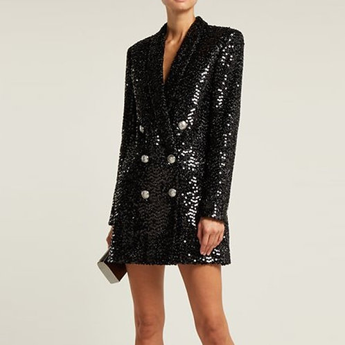 Double Breasted Sequin Blazer