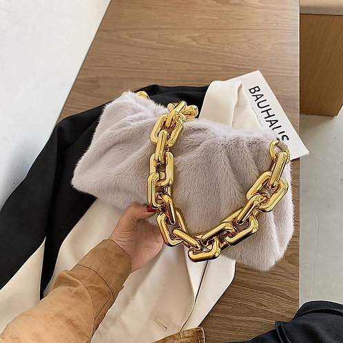 Bold Chained Plush Clutch