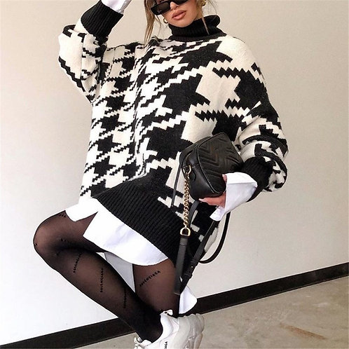 Knitted Oversized Houndstooth Sweater