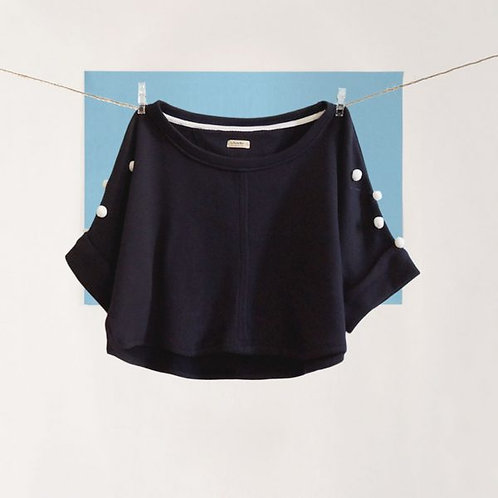 Navy Pompon Sweater