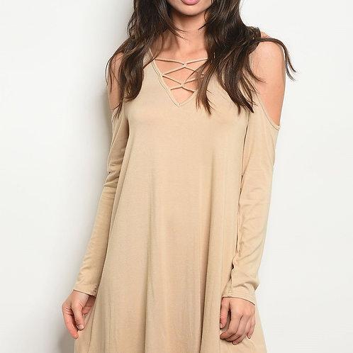 Off-shoulder beige summer Dress
