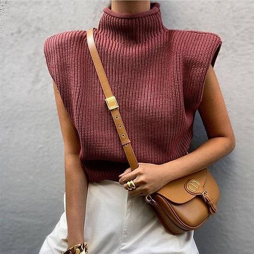 Sleeveless Knitted Turtleneck Sweater