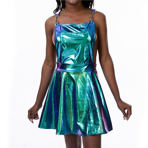 Holographic Pinafore Dress