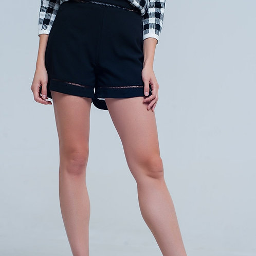 High Waist Black Shorts With Lace Detail