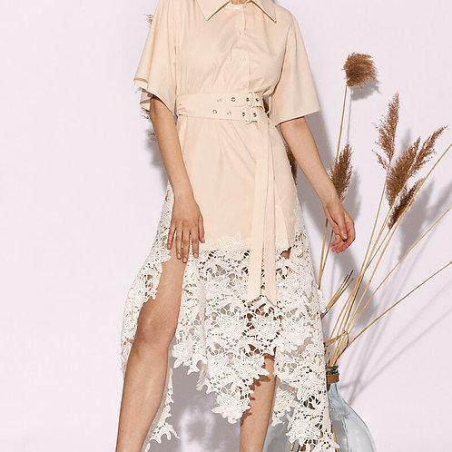 Asymmetrical Lace Shirt-Dress