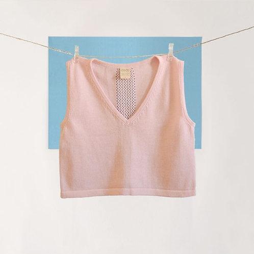 Pink V-Neck Crop Top