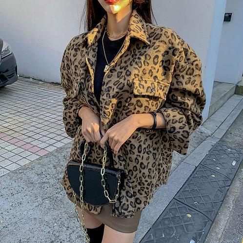 Oversized Vintage Leopard Print Jacket