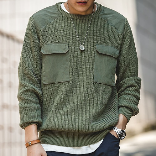 Olive Knit Utility Sweater