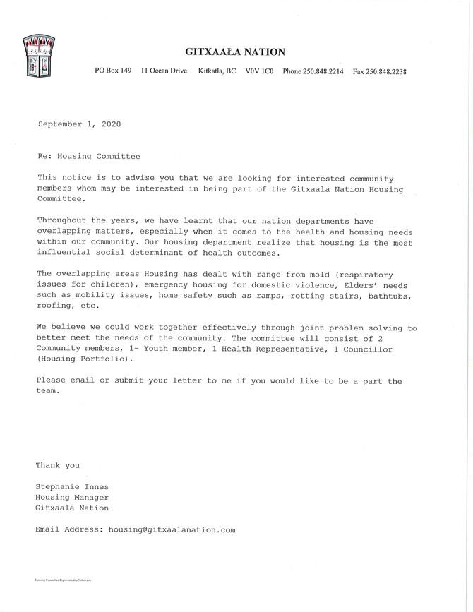 Housing Committee Representative Notice