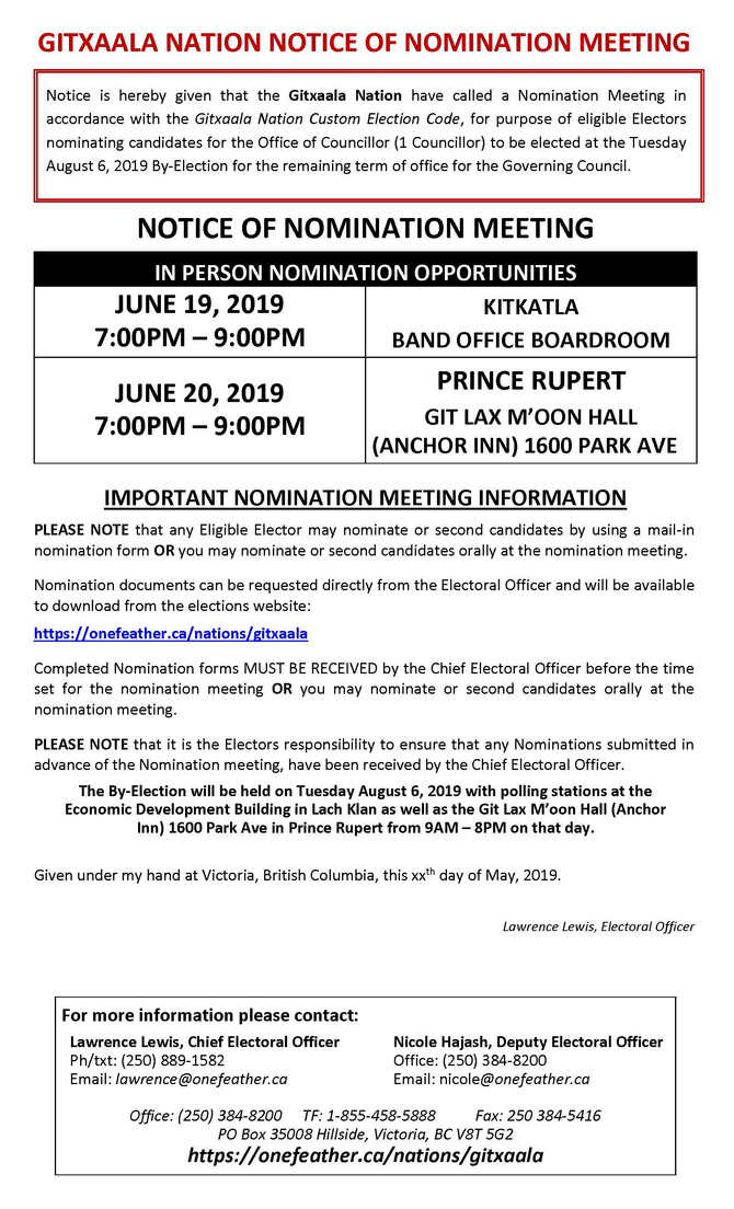 BY-ELECTION - NOMINATION MEETING