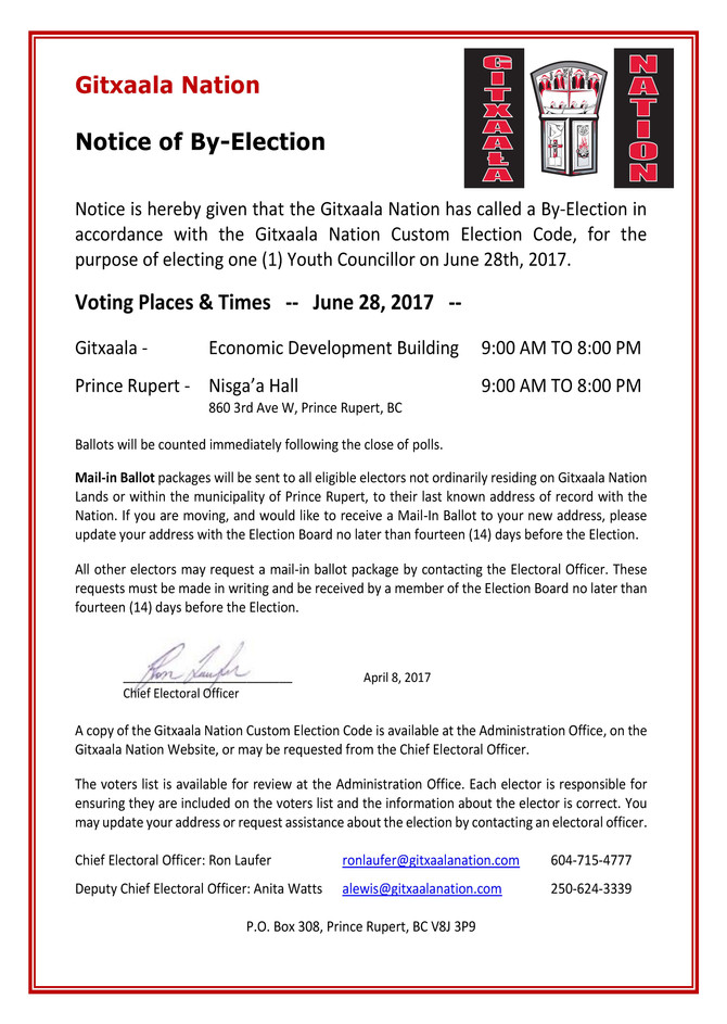 GITXAALA NATION BY-ELECTION FOR YOUTH COUNCILLOR POSITION