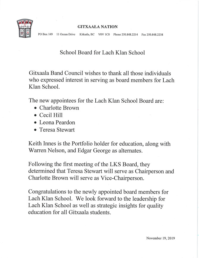 School Board for Lach Klan School