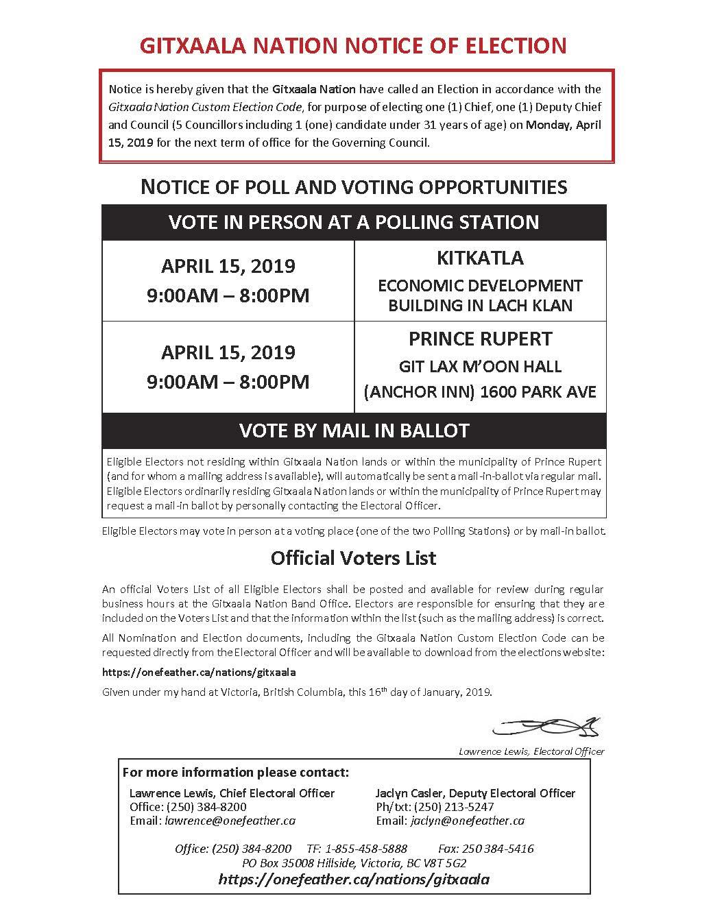 GITXAALA NATION NOTICE OF ELECTION
