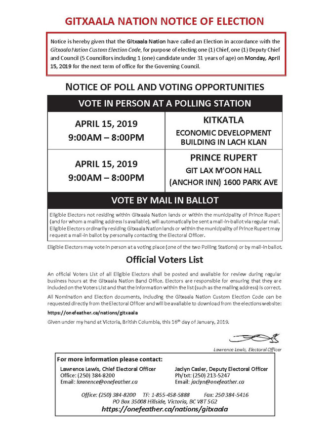GITXAALA NATION NOTICE OF ELECTION