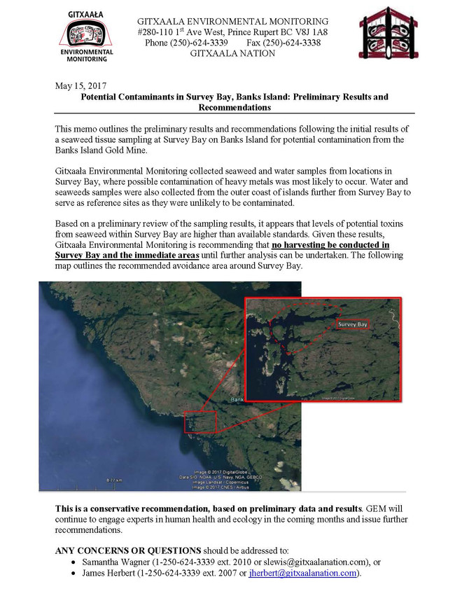 POTENTIAL CONTAMINANTS IN SURVEY BAY, BANKS ISLAND: PRELIMINARY RESULTS AND RECOMMENDATIONS