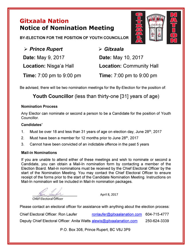 NOTICE OF NOMINATION MEETING FOR YOUTH COUNCILLOR POSITION