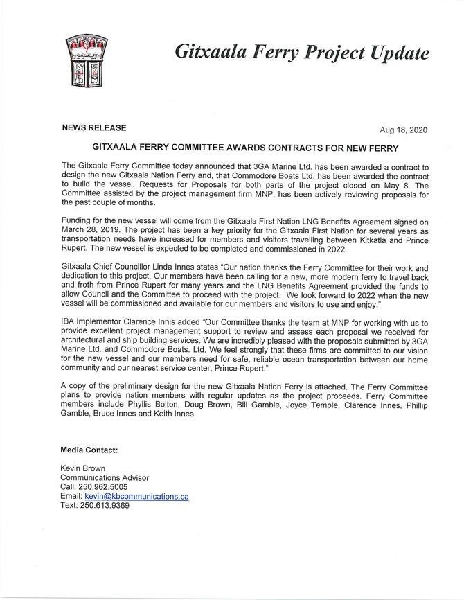 Gitxaala Ferry Project Update - August 18, 2020