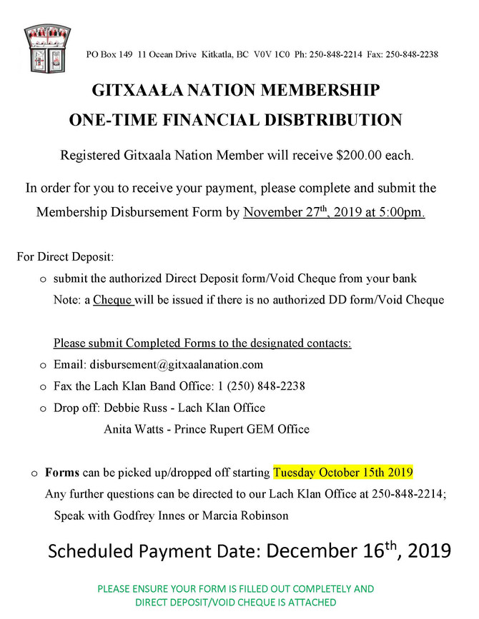 Gitxaala Nation Dec. 2019 Disbursement