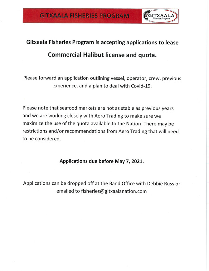 Gitxaala Fisheries Program: Application to lease commercial Halibut License and quota
