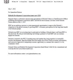 For Immediate Release: Kitkatla Development Corporation names new CEO