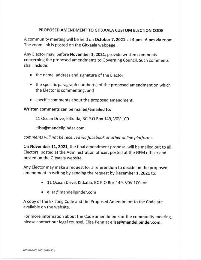 Proposed Amendment to Gitxaala Custom Election Code