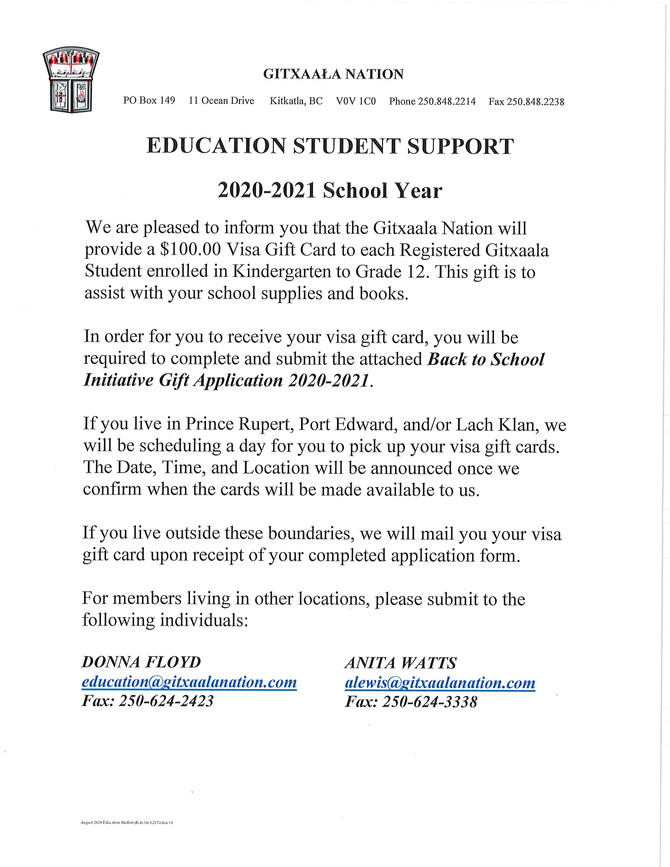Education Student Support (K to Gr.12) Notice #1 August 2020