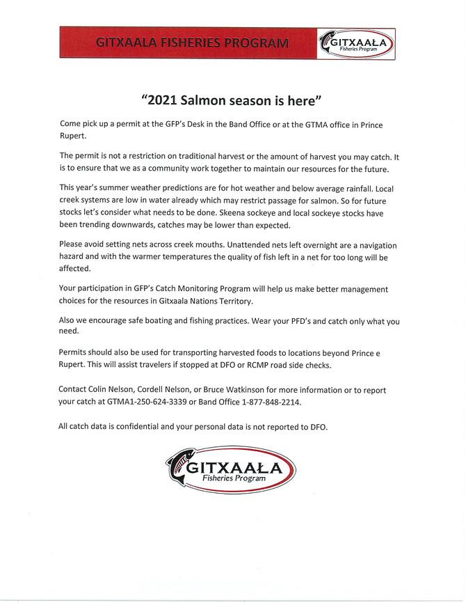 2021 Salmon Season is Here - Gitxaala Fisheries Program
