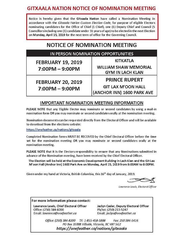 GITXAALA NATION NOTICE OF NOMINATION MEETING