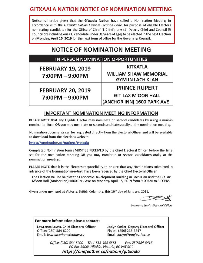 GITXAALA NATION NOTICE OF NOMINATION MEETING